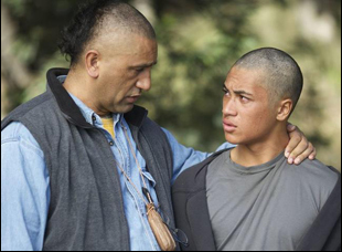 "James Rolleston and Cliff Curtis in ""The Dark Horse"""