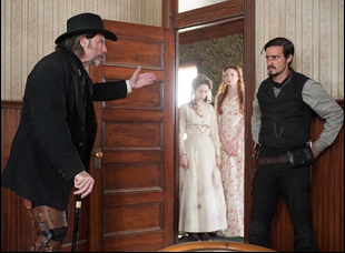 "John Travolta, James Ransone, Taissa Farmiga and Karen Gillan in ""In a Valley of Violence"""