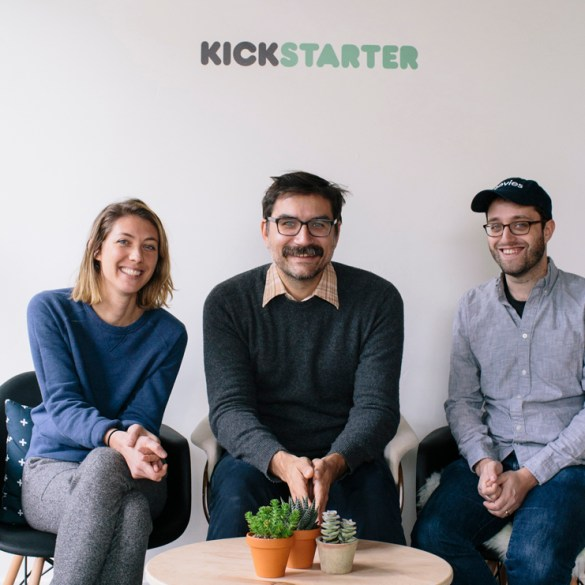 Liz Cook, George Schmalz and Dan Schoenbrun at Kickstarter HQ
