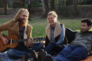 "Wyatt Russell, Alex Karpovsky and Meredith Hagner in ""Folk Hero and Funny Guy"""