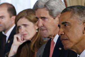 "Ben Rhodes, Samantha Power, John Kerry, and Barack Obama in ""The Final Year"""