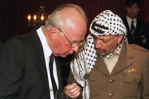 "Yasser Arafat and Yitzhak Rabin in ""The Oslo Diaries"""