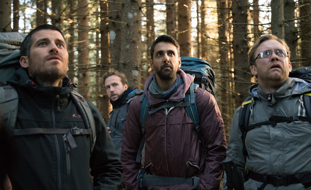 """Arsher Ali, Rafe Spall, Robert James-Collier, Sam Troughton and Paul Reid in """"The Ritual"""""""