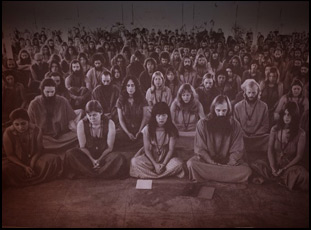"""A scene of the Rajneeshees in """"Wild Wild Country"""""""