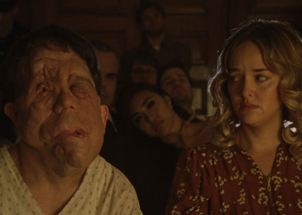 """Adam Pearson and Jess Weixler in """"Chained for Life"""""""