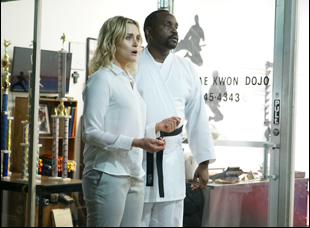 "Taylor Schilling and Brian Tyree Henry in ""Family"""