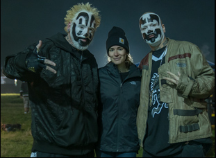 """Laura Steinel with the Insane Clown Posse on the set of """"Family"""""""