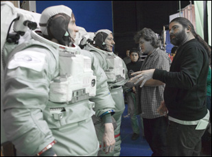 Sebastian Cordero on the set of his outer space science fiction film Europa Report