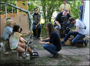 """Toby Halbrooks on the set of """"Dig"""""""