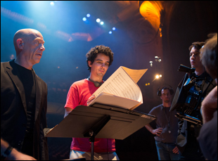 """Damien Chazelle with JK Simmons and Miles Teller on the set of """"Whiplash"""""""