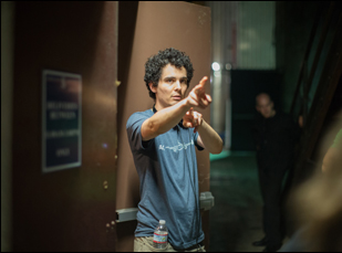 "Damien Chazelle on the set of ""Whiplash"""