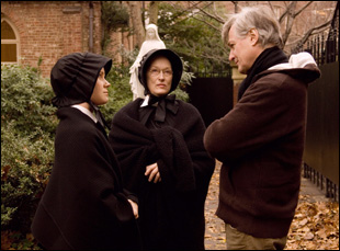 "John Patrick Shanley, Amy Adams and Meryl Streep on the set of ""Doubt"""