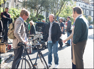 "Sir Nicholas Hytner on set with Alex Jennings for ""The Lady in the Van"""