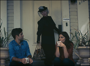 "Fionnula Flanagan, Adrian Grenier and Angela Trimbur in ""Trash Fire"""