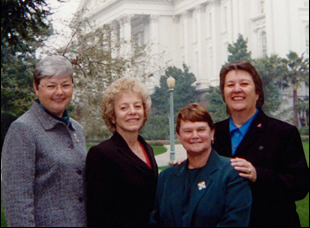 "Jackie Goldberg, Christine Kehoe, Carole Migden, Sheila Kuehl in ""Political Animals"""