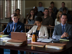 """Gabriel Basso, Gugu Mbatha-Raw and Keanu Reeves in """"The Whole Truth"""""""