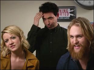 """Alex Karpovsky, Meredith Hagner and Wyatt Russell in """"Folk Hero & Funny Guy"""""""