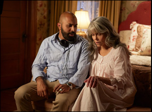 "Ritesh Batra and Jane Fonda on the set of ""Our Souls at Night"""