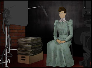 "A scene from Penny Lane's ""Nellie Bly Makes the News"""