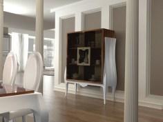 Vitrine em pau ferro e lacado alto brilho branco. Personalize o mesmo de acordo com o seu gosto e espaço.