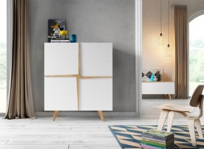 Móvel Bar em lacado branco e carvalho natural. Personalize o mesmo de acordo com o seu gosto e espaço.