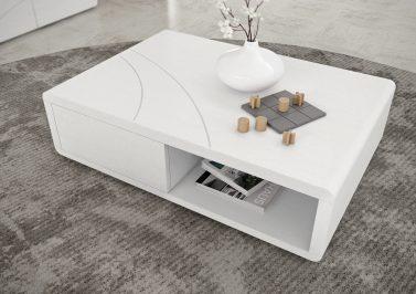 Mesa de centro em carvalho cor branco com frisos em inox com gavetas. Personalizamos ao seu gosto e estilo.