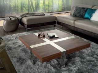 Mesa de centro em nogueira com detalhes em inox. Personalizamos ao seu gosto e estilo.