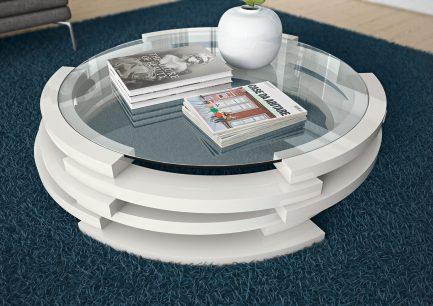 Mesa de centro redonda com tampo em vidro. Personalizamos ao seu gosto e estilo.
