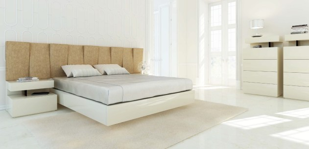 Quarto Casal em lacado beje com cabeceira estofada. Transforme o seu quarto num Quarto de Sonho!