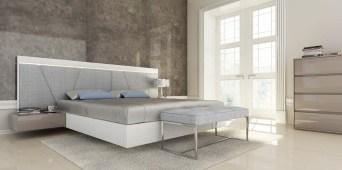 Quarto Casal em lacado branco com cabeceira estofada. Transforme o seu quarto num Quarto de Sonho!