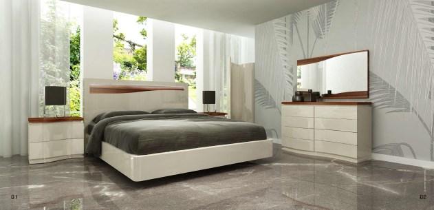 Quarto Casal em lacado alto brilho taupê com pormenores em pau ferro. Transforme o seu quarto num Quarto de Sonho!