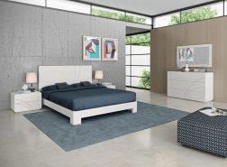 Quarto Casal em carvalho cor branco com detalhes em inox. Transforme o seu quarto num Quarto de Sonho!