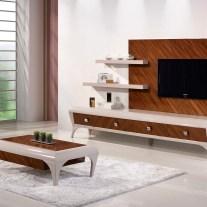 Sala de Estar em Nogueira e lacado alto brilho cinza. Personalizamos os acabamentos e as dimensões.