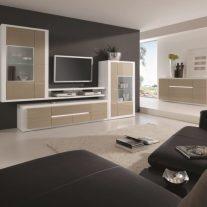Sala de Estar em lacado creme e branco. Personalizamos os acabamentos e as dimensões.