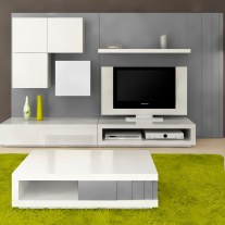Sala de estar em lacado alto brilho branco e cinza. Personalizamos os acabamentos e as dimensões.