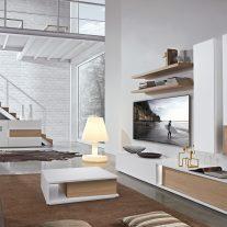 Estante em carvalho natural e lacado branco. Personalizamos os acabamentos e as dimensões.