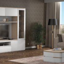 Sala de Estar em carvalho e lacado alto brilho branco. Personalizamos os acabamentos e as dimensões.