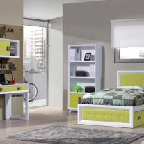 Quarto Juvenil em lacado branco e verde. Personalizamos o nosso mobiliário, contacte-nos!