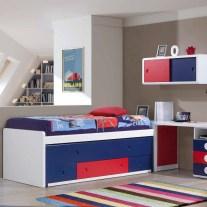 Composição Juvenil em lacado branco, azul e vermelho. Personalizamos o nosso mobiliário, contacte-nos!