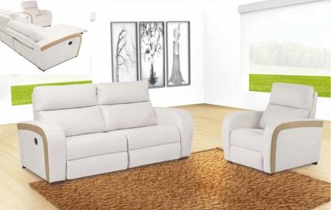 Sofá 3L com 2 relax electrico e Sofá 2L. Cada modelo tem várias medidas e revestimentos (tecidos e peles) possíveis.