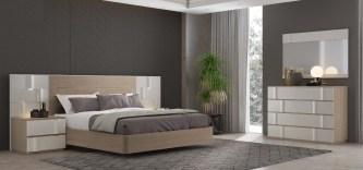 Quarto Casal em Carvalho e lacado alto brilho pérola. Transforme o seu quarto num Quarto de Sonho!