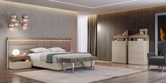 Cama estofada em tecido alinhado, mobiliário em lacado alto brilho beje e nogueira. Transforme o seu quarto num Quarto de Sonho!