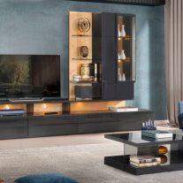 Sala de Estar em carvalho pipi e lacado alto brilho cinza. Personalizamos os acabamentos e as dimensões.