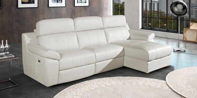 Sofá 3L com chaiseloungue com relax electricos e chaiselongue deslizante eléctrica estofado em pele genuína.