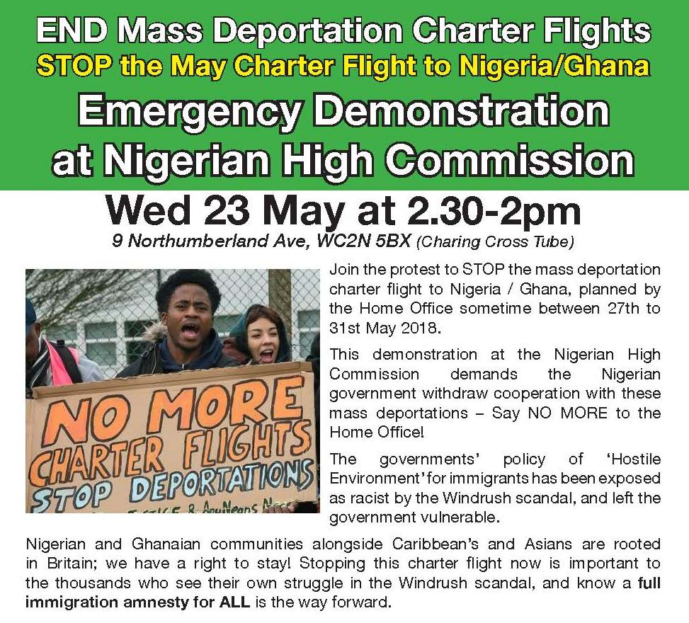 EMERGENCY Demonstration to Stop Charter Flight to Nigeria and Ghana