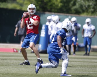 May 27, 2015; Indianapolis, IN, USA; Indianapolis Colts quarterback Andrew Luck (12) throws a pass during OTA at Indiana Farm Bureau Football Center. Mandatory Credit: Brian Spurlock-USA TODAY Sports