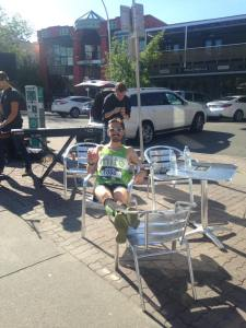 Greg Medwid lounging with a Jugo Juice mid Calgary marathon!