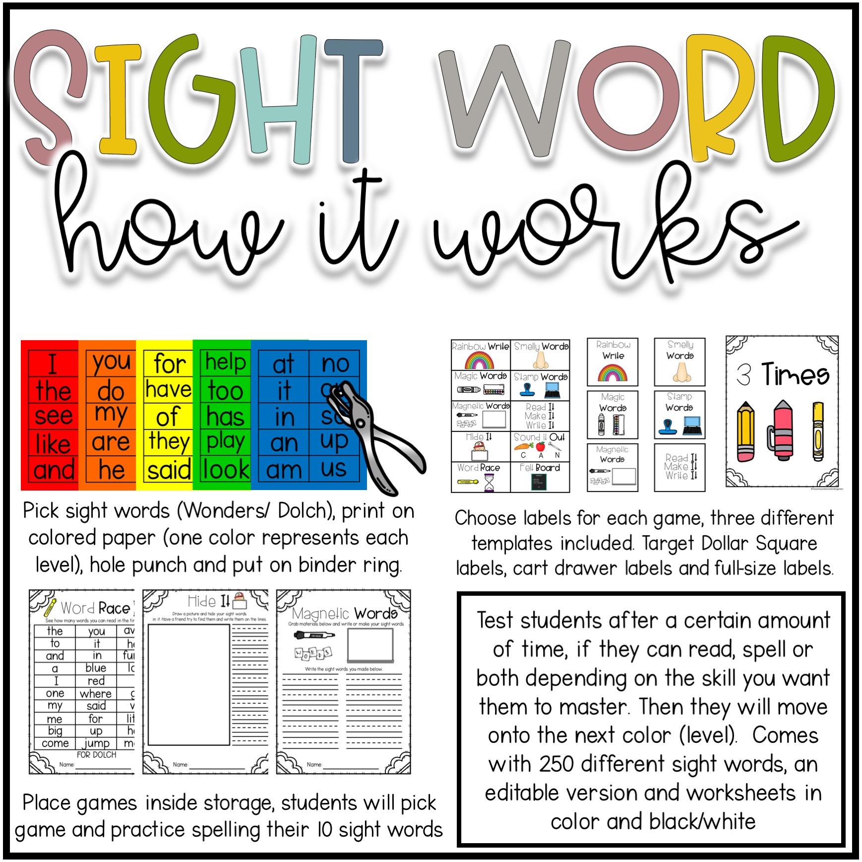 Sight Word Practice Worksheets   Move Mountains in Kindergarten [ 1738 x 1738 Pixel ]