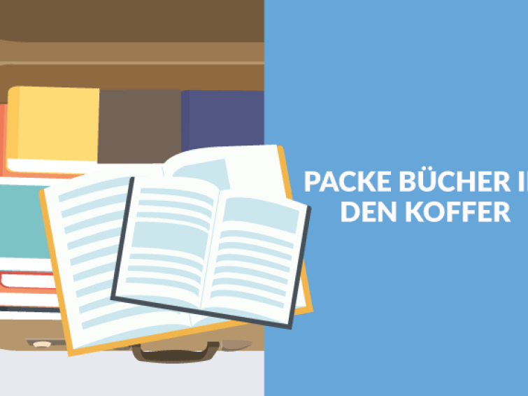 Packe Bücher in den Koffer