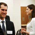 Brien Dulle, Cassady Schiller; facing, Max Miller, Great American Insurance Group; Jessica Urban, Cincinnati Museum Center